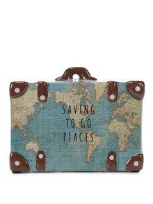 Modrá keramická kasička ve tvaru kufru Sass & Belle Saving To Go Places
