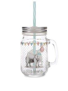 Sklenená nádoba so slamkou a motívom slona Sass & Belle Party Animals