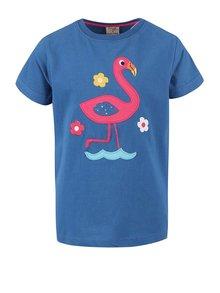 Tmavomodré dievčenské tričko s plameniakom Frugi Gwenver