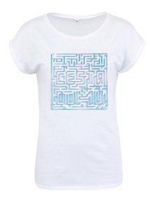 """Dobré"" biele dámske tričko s bludiskom Cesta domů"