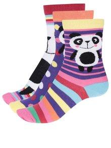 Sada tří vzorovaných dámských/holčičích ponožek v fialové a bílé barvě Oddsocks Bear