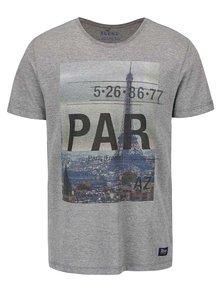 Tricou cu print Paris Blend gri