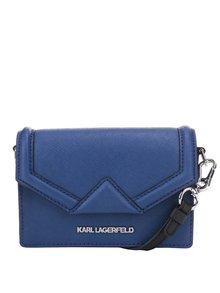 Modrá kožená malá crossbody kabelka KARL LAGERFELD