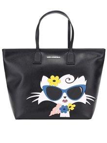 Čierny shopper s motívom mačky KARL LAGERFELD