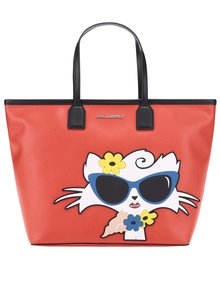 Červený shopper s motivem kočky KARL LAGERFELD