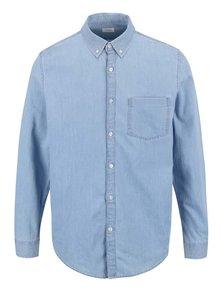 Světle modrá džínová košile s kapsičkou Burton Menswear London