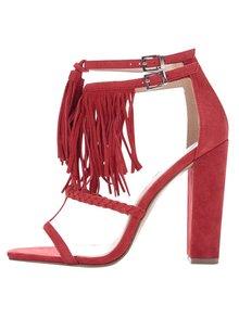 Červené semišové sandálky na podpatku Miss Selfridge
