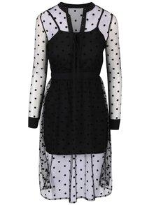 Čierne šaty so sieťovanou vrstvou Anna Smith