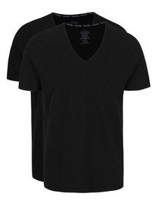 Súprava dvoch pánskych slim fit tričiek v čiernej farbe s véčkovým výstrihom Calvin Klein