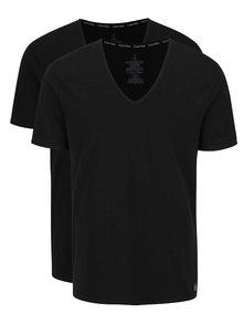 Súprava dvoch pánskych tričiek v čiernej farbe s véčkovým výstrihom Calvin Klein