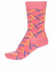 Koralové dámske ponožky Happy Socks Fence