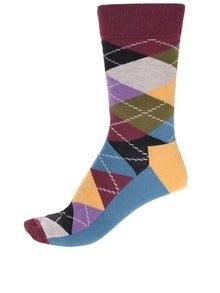 Červeno-modré unisex kostkované ponožky Happy Socks Argyle