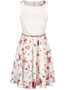 Krémové květované šaty s páskem Closet