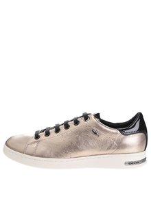 Pantofi sport aurii pentru femei Geox Jaysen cu detalii negre