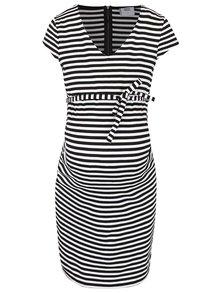 Bielo-čierne pruhované tehotenské šaty Mama.licious Blackie
