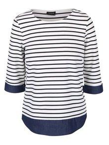 Krémové pruhované tričko s rifľovými detailmi VILA Tinny