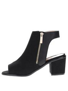 Čierne topánky s otvorenou špičkou a pätou v semišovej úprave Miss Selfridge