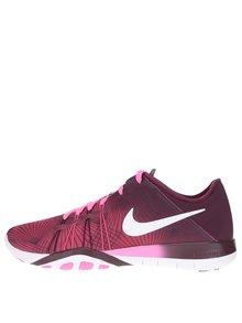 Růžovo-vínové dámské tenisky Nike Free 6 Print