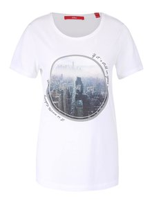 Biele dámske tričko s potlačou s.Oliver