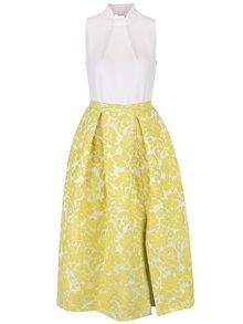 Krémovo-žluté midi šaty s květovanou sukní Closet