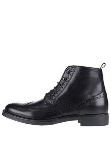 Čierne pánske kožené členkové brogue topánky Geox Blade