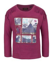 Fialové dievčenské tričko s potlačou a strapcami Blue Seven