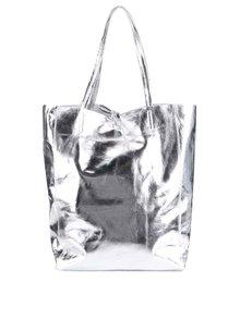 Kožený shopper ve stříbrné barvě ZOOT Simple