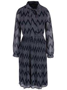 Tmavomodré vzorované šaty s dlhým rukávom a plisovanou sukňou Mela London