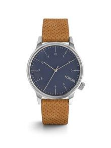 Unisex hodinky ve stříbrné barvě s hnědým koženým páskem Komono Winston