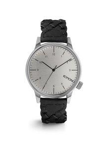Unisex hodinky v striebornej farbe s koženým remienkom Komono Winston Brogue
