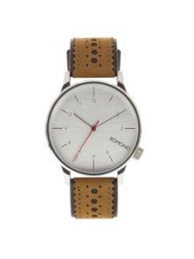 Unisex hodinky ve stříbrné barvě s koženým páskem Komono Winston Brogue