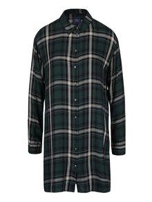 Tmavozelená dlhá kockovaná košeľa ONLY Stone