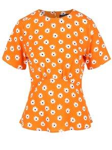 Bluză portocalie cu print floral Dorothy Perkins cu imprimeu