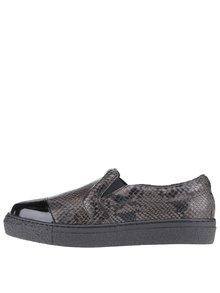 Černé kožené loafers s hadím vzorem OJJU Forty