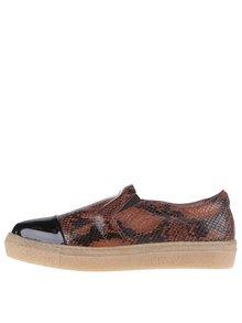 Hnedé kožené loafers s hadím vzorom OJJU Forty