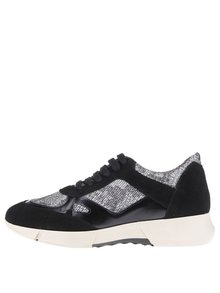 Pantofi sport negri cu detalii argintii -  OJJU