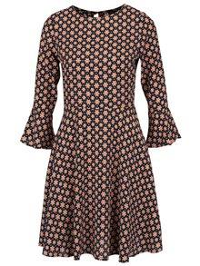 Čierne šaty s oranžovým kvetovaným vzorom Dorothy Perkins