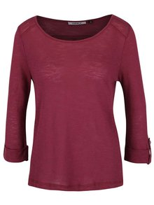 Vínové tričko s 3/4 rukávom ONLY Jess