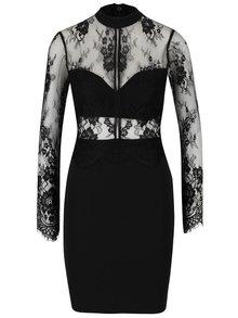 Čierne šaty s čipkovaným topom Lipsy