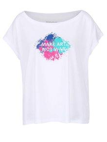 Tricou alb lejer ZOOT Original Make Art Not War pentru femei