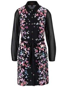 Čierne košeľové šaty s motívom motýľov a kvetov Lipsy