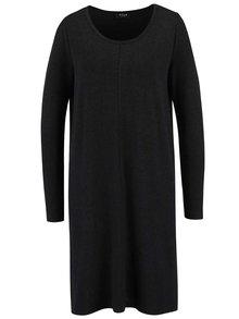 Tmavosivé voľnejšie šaty s dlhým rukávom VILA Nimas