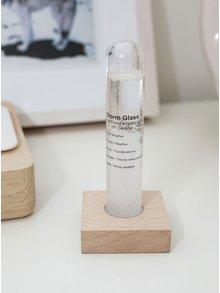 Bouřková sklenička s dřevěným podstavcem Kikkerland