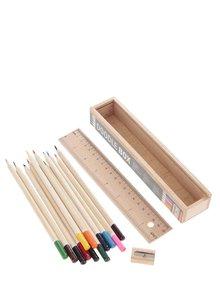 Kolekcia dvanástich pasteliek v drevenej škatuľke Kikkerland