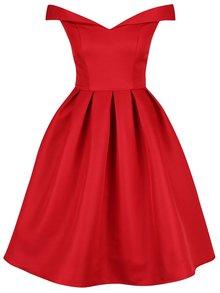 Červené šaty so spadnutými ramenami Chi Chi London Jade