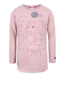 Světle růžové holčičí tričko s motivem a dlouhým rukávem LEGO Wear Tessa