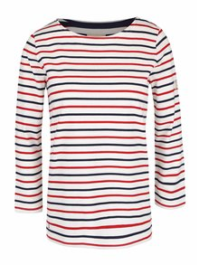 Krémové dámske tričko s modro-červenými pruhmi Tom Joule Harbour