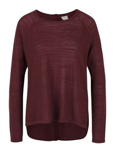 Vínový dámský lehký svetr s šifonovou zadní stranou Bench