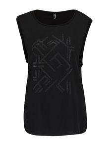 Čierne tričko bez rukávov s trblietavou potlačou ONLY Mynte