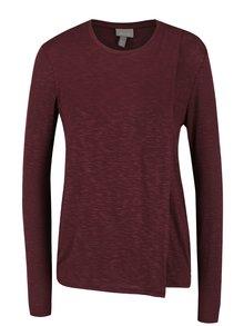 Vínovohnědé překládané dámské tričko Bench